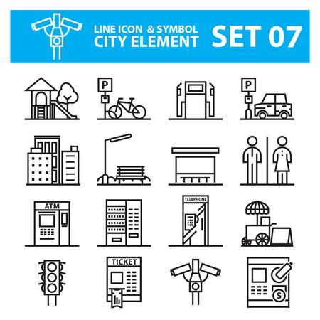 security lights: city element line icons set Illustration