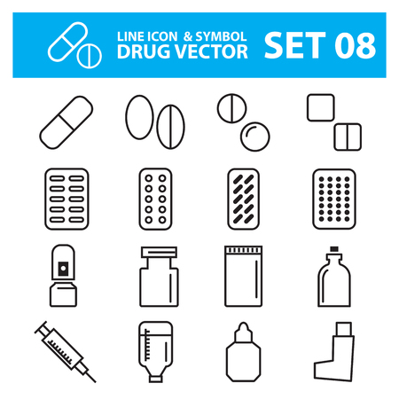 spay: medical pills line icon set