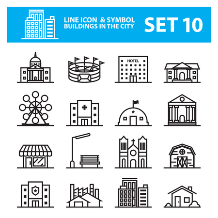 waterworks: Buildings city line icon set