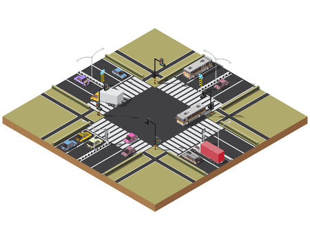 autobahn: Crossroads and road markings isometric Transport car, urban traffic.