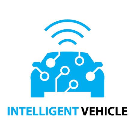 スマートな車、インテリジェント車両のアイコンとシンボル  イラスト・ベクター素材