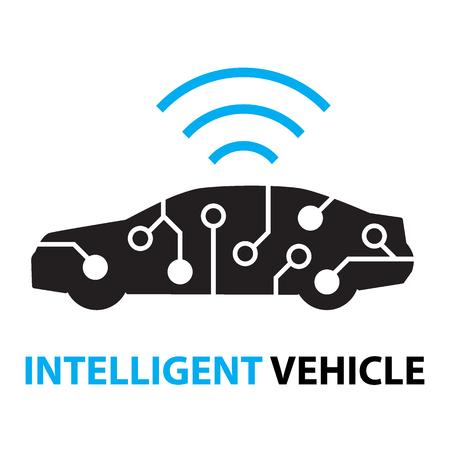 slimme auto, intelligente voertuigsystemen icoon en symbool
