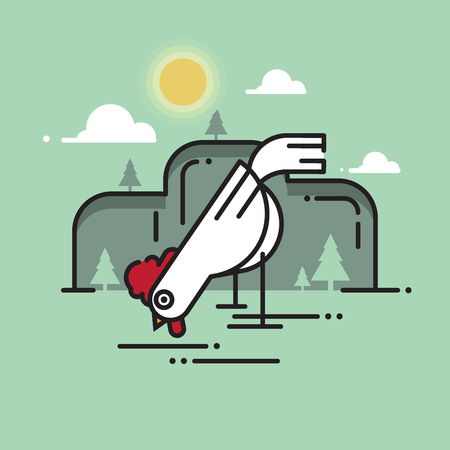 Rooster. Sun rise Flat design style vector illustrations