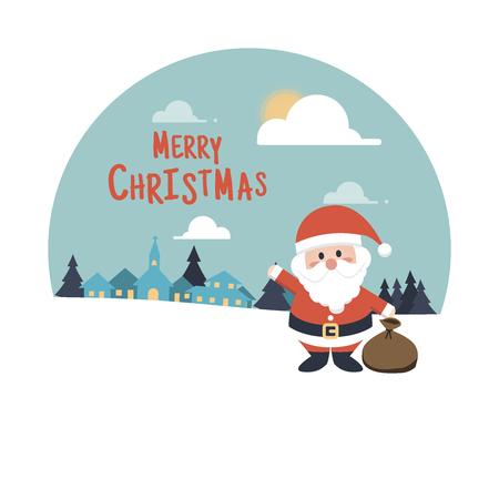 house of santa clause: Merry Christmas background  . Santa Claus Cartoon character Illustration