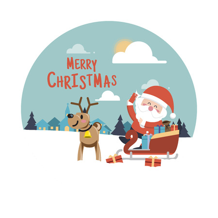 house of santa clause: Merry Christmas background,Santa Claus and reindeer  with a bag full of presents Illustration