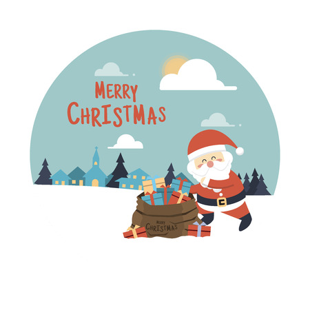 house of santa clause: Merry Christmas background,Santa Claus with a bag full of presents Illustration