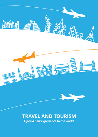 world travel: Travel and tourism and  transport .The landmarks of the world as the background Illustration