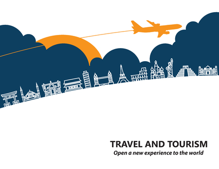 Travel and tourism and  transport .The landmarks of the world as the background Illustration
