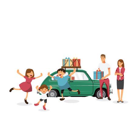 asian family: Cartoons character family celebrations glad gifts.