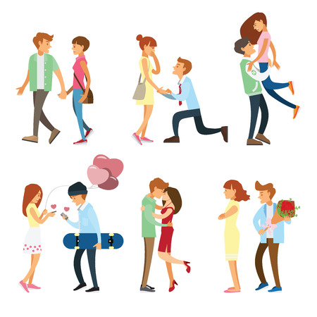 romantic: couples and people romantic style set Illustration