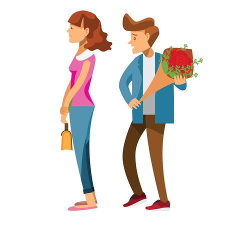 cartoon character,Couple of lovers on a date, young man back who is holding red rose