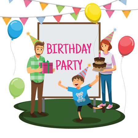Alles Gute zum Geburtstag Party, Cartoons Charakter Familie