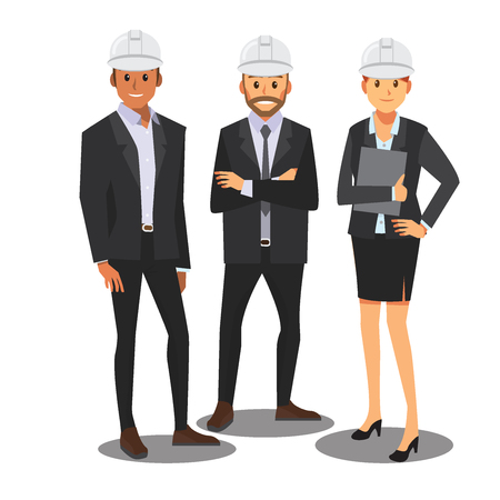 Engineer management team,( white hat ) vector Illustration