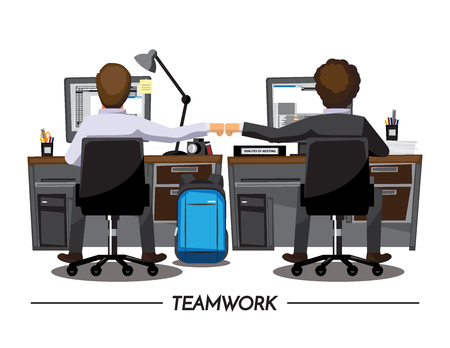 colleagues: Fist Bump Colleagues Collaboration Teamwork Concept ,Vector illustration cartoon