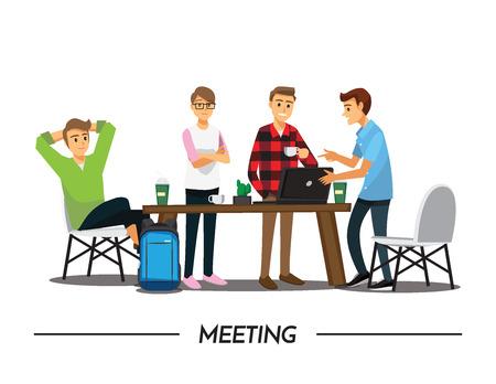 Groep Zakenmensen die elkaar ontmoeten op een café, afbeelding cartoon karakter