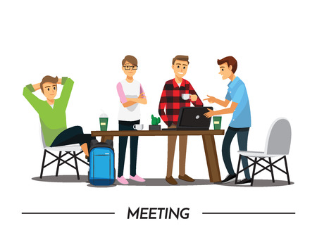 Group of Business People meeting on a Cafe, illustration cartoon character