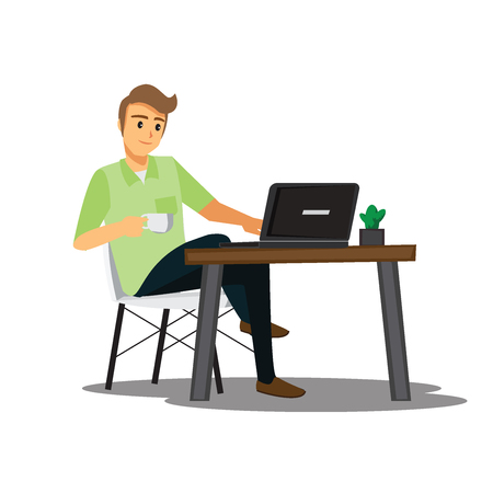 freelance developer or designer working at home,vector character