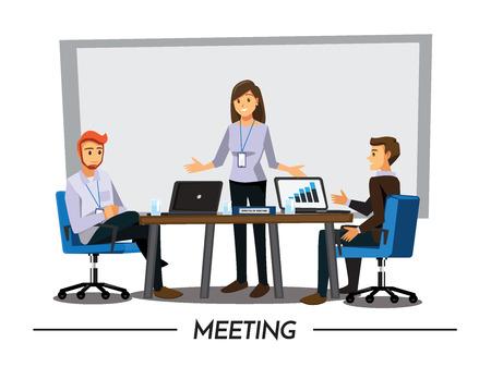 Business People Having Board Meeting,Vector illustration cartoon character  イラスト・ベクター素材