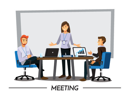 Business People Having Board Meeting,Vector illustration cartoon character Ilustração