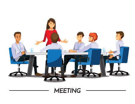 medium group of people: Group of Business People meeting,Vector illustration cartoon character Illustration