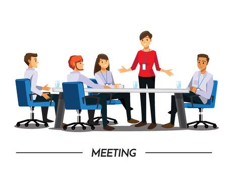 Grupa ludzi biznesu spotkania, charakter cartoon ilustracji wektorowych
