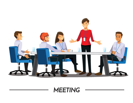 Group of Business People meeting,Vector illustration cartoon character Vettoriali