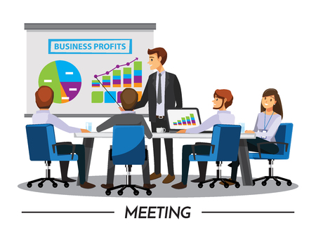 Business People Having Board Meeting,Vector illustration cartoon character Çizim