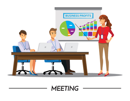 associate: Business People Having Board Meeting,Vector illustration cartoon character.