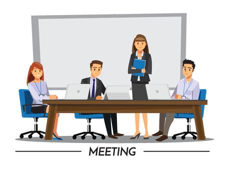 business meeting computer: Business People Having Board Meeting,Vector illustration cartoon character Illustration