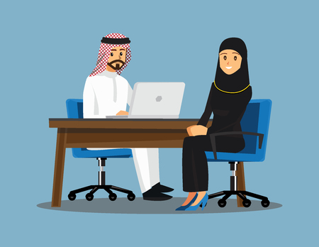 Arabian Business People teamwork ,Vector illustration cartoon character. Vektorové ilustrace