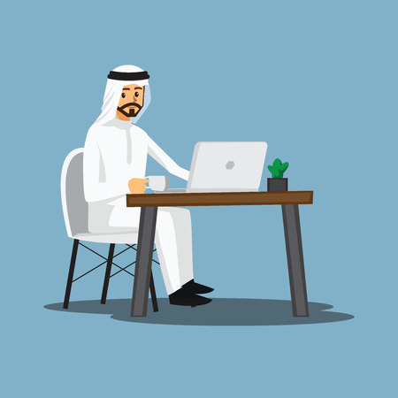 busy person: freelance developer ,Arabian or designer working at home,vector character Illustration