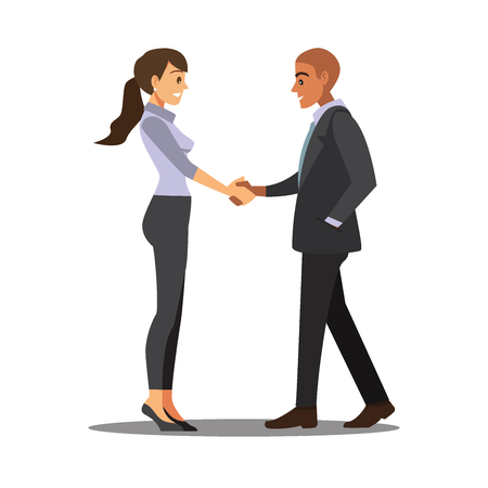 workmate: Businesss and office concept - two businessmen shaking hands,Vector illustration cartoon character