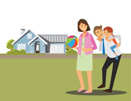 Happy family ,Vector illustration cartoon character. Illustration