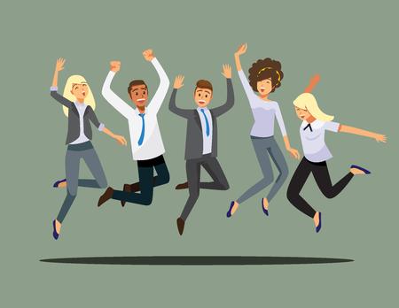 Happy group of friend jumping.Vector illustration cartoon character. Illustration
