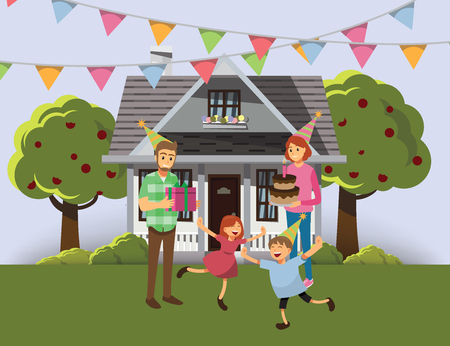celebration: Happy family celebration Outdoor area with small house, background,Vector illustration cartoon character
