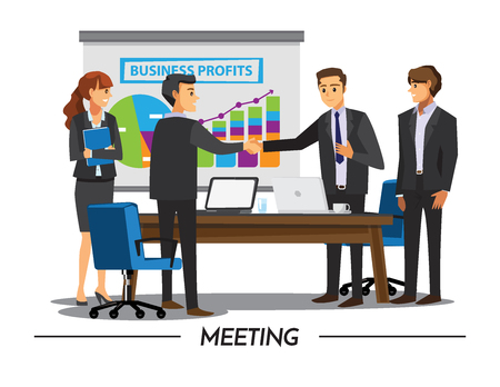 computer office: Businesss and office concept - two businessmen shaking hands,Vector illustration cartoon character