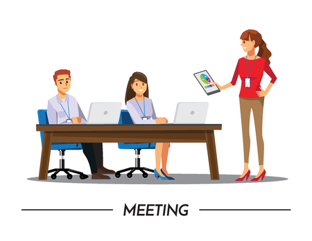 Business People Having Board Meeting,Vector illustration cartoon character. Stock Vector - 76496465
