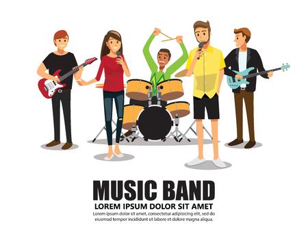 Music band on stage Illustration