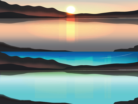 Illustration of Sun rise  Behind the mountain. and Aurora borealis above snowy islands of Lofoten Illustration