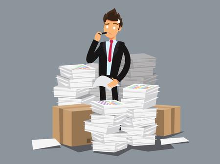 Overworked businessman . Business concept cartoon illustration Illustration