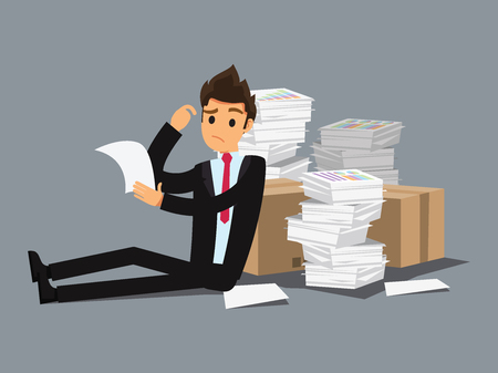 faint: Overworked businessman . Business concept cartoon illustration Illustration