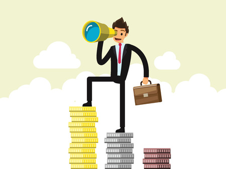 Vision and Growth concept. Businessman looks through a telescope Stand on the pile of money. Business concept cartoon illustration Illustration