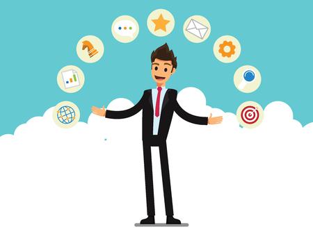 Biznesmen, menedżer, programista biznesowy. Ilustracja kreskówka koncepcja biznesowa