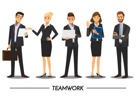 personas de pie: La gente de negocios trabajo en equipo, vector personaje de dibujos animados. Vectores