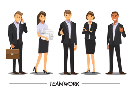 woman cellphone: Business People teamwork ,Vector illustration cartoon character.