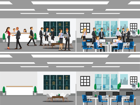 business meeting laptop: office with workstation, meeting room, receptions, lobby, include business and people working, activity ,Vector illustration