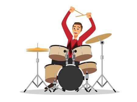 ドラム キットとドラマー (ドラム、楽器、音楽)  イラスト・ベクター素材