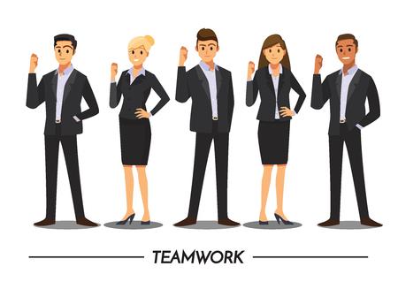 Gente de negocios trabajo en equipo, personaje de dibujos animados de ilustración vectorial. Foto de archivo - 90002775