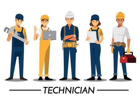 Technicien et constructeurs et ingénieurs et mécaniciens. Travail d'équipe de personnes, personnage de dessin animé de Vector illustration.