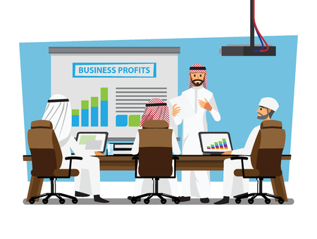 Arab businessman wearing traditional clothing Having Board Meeting,Vector illustration cartoon character Vectores